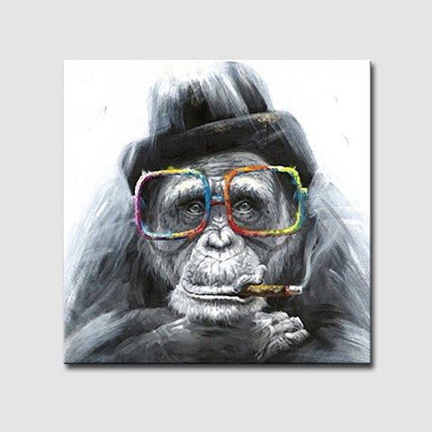 Hand Painted Cartoon Black Gorilla Modern Animal Oil Painting - Amoy Shop