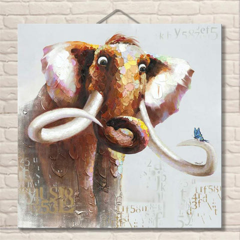 Hand Painted Funny Elephant Oil Paintings - Amoy Shop
