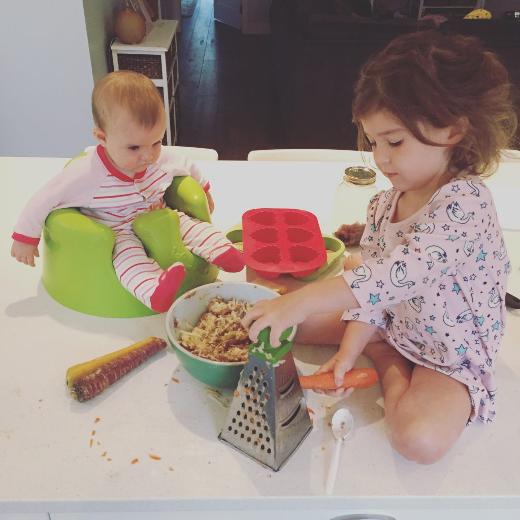 Ruby and Scarlett making Morning Glory Muffins