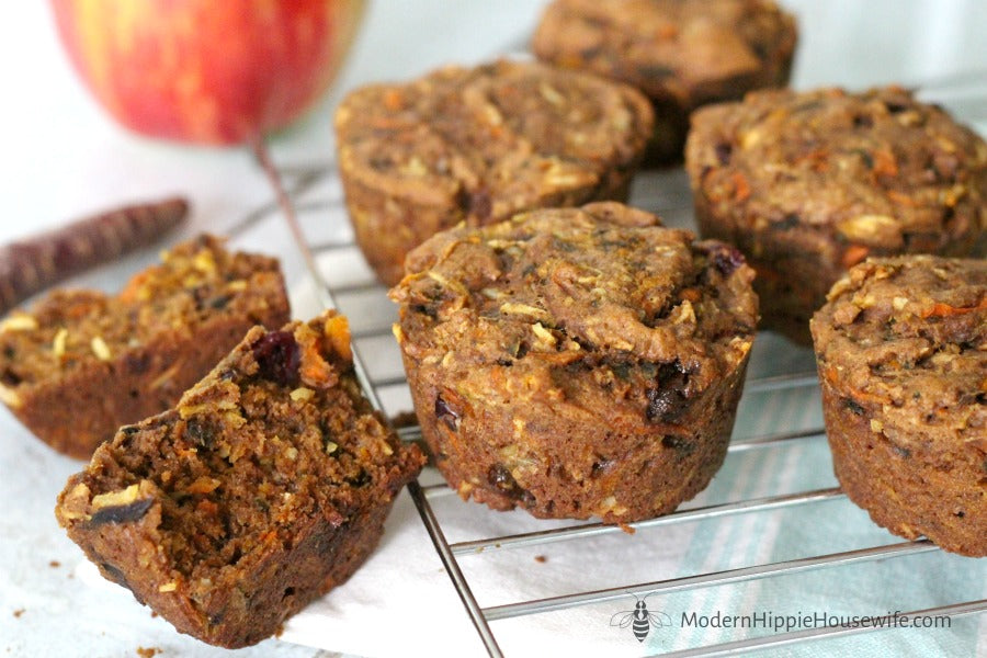 Morning Glory Muffins with Sprouted Spelt Flour