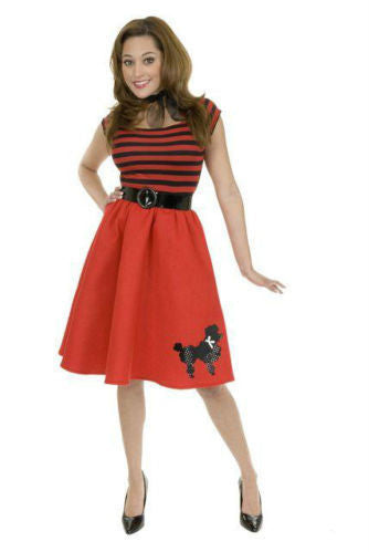 Adult Red Striped Sequin Poodle Dress 50s Costume