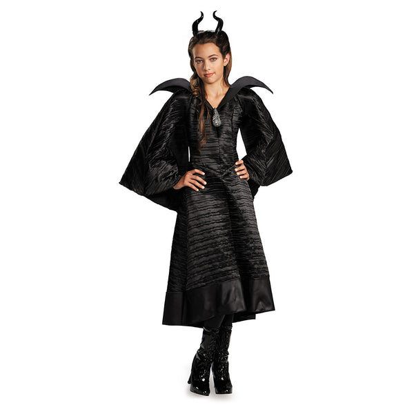 Kids Maleficent Christening Black Gown Deluxe Costume