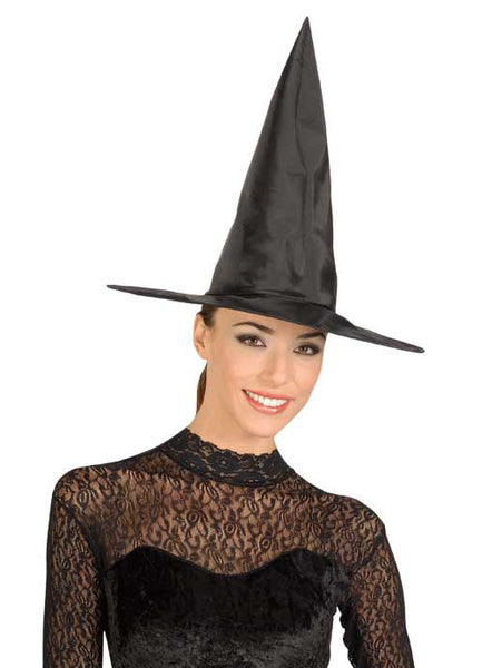 Adult Black Taffetta Witch Hat