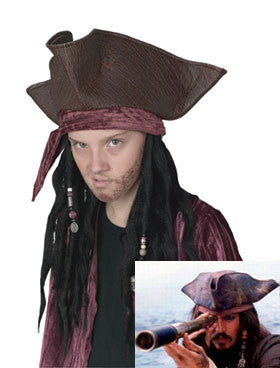 Worn Pirate Hat w/ Attached Dreads for Children