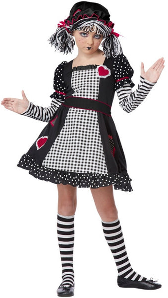 Kids Black and White Rag Doll Costume