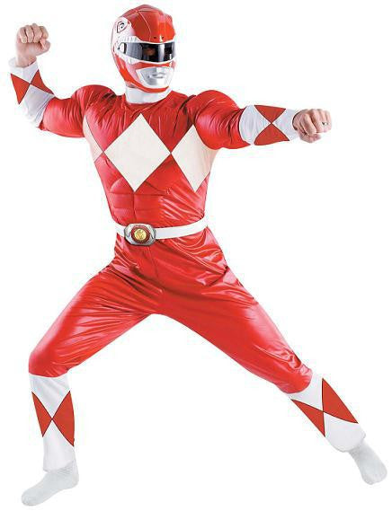 Adult Red Power Ranger Costume - Muscle Chest