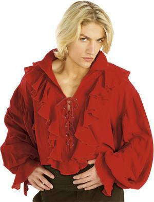 Red Linen Adult Pirate Shirt Costume