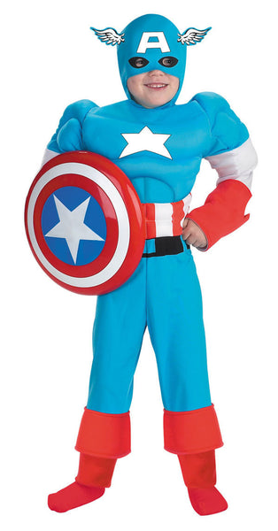 Kids Captain America Costume - Deluxe Muscle Chest