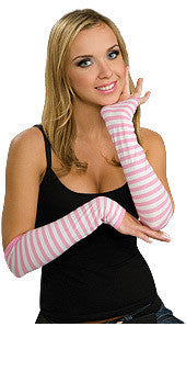 Pink and White Striped Glovelets