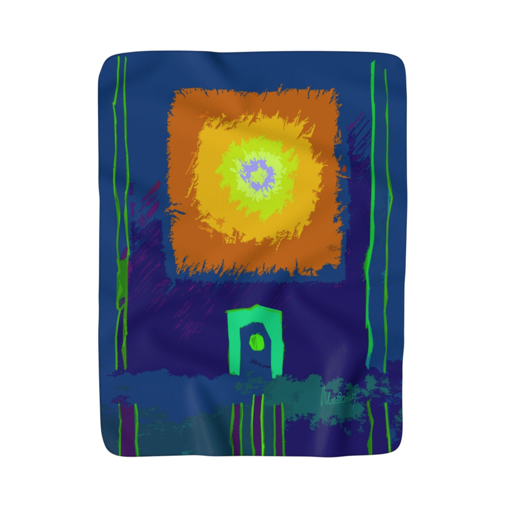 Summer Rays Contemporary Art Sherpa Blanket
