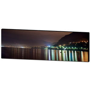 Night Panoramic Lake Como Oil Canvas by Adrian Rodriguez