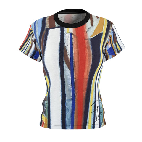 Fabrice Plas 'L-Impulsion-Cosmique-De-Nemori XV' Women's Fitted T-Shirt - louisacatharinedesign