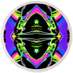 Color Chaos Iv - Round Beach Towel - louisacatharinedesign