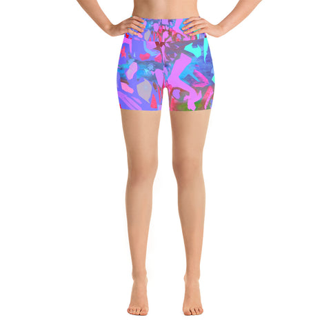 Michel Lienard Contemporary Art Yoga Shorts - louisacatharinedesign