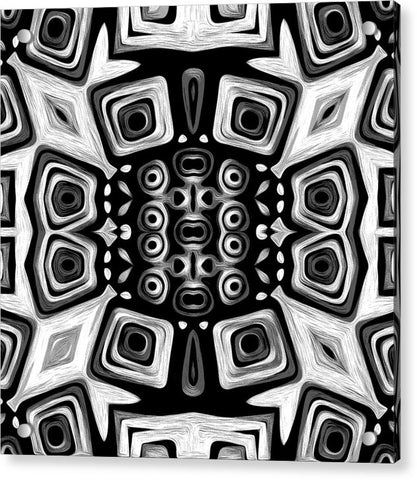 Monochrome Totem Art - Acrylic Print - louisacatharinedesign