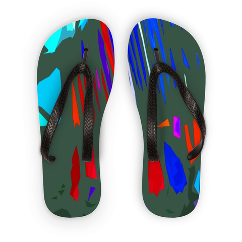 Michel Liénard Contemporary Multicolored Art Flip Flops - louisacatharinedesign