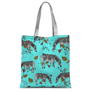 'Turquoise' Zebra Pattern by Louisa Catharine Tote Bag