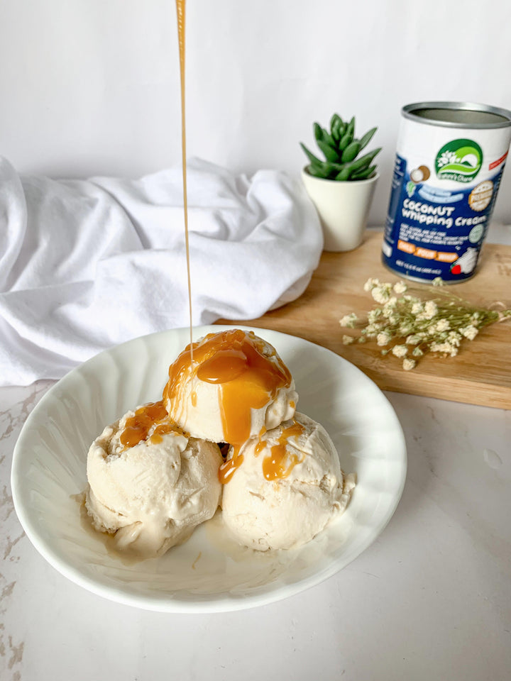 HOMEMADE VEGAN CARAMEL ICE CREAM