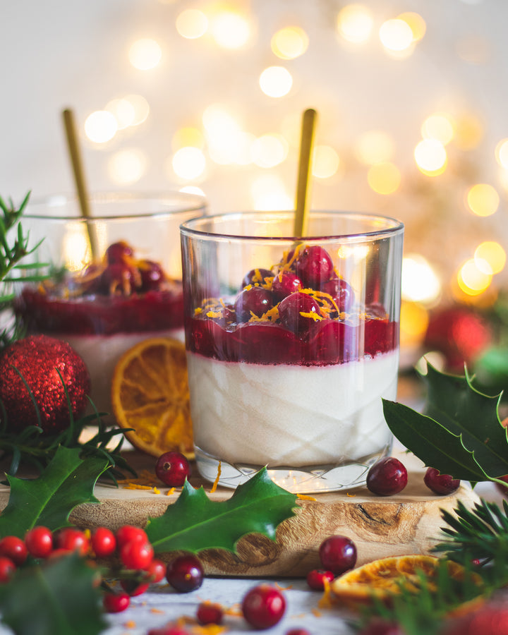 VEGAN PANNA COTTA WITH SPICED CRANBERRY ORANGE COMPOTE