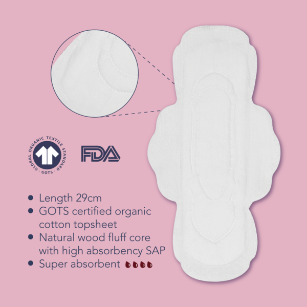 LUÜNA Organic Cotton Night Pads (29CM)