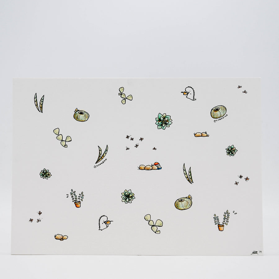 Succulent Garden Hand Drawn Illustration (A4 size)