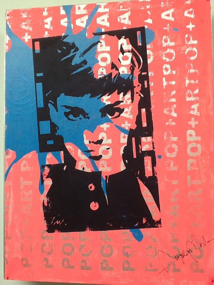 Audrey Hepburn Pink Pop Art face