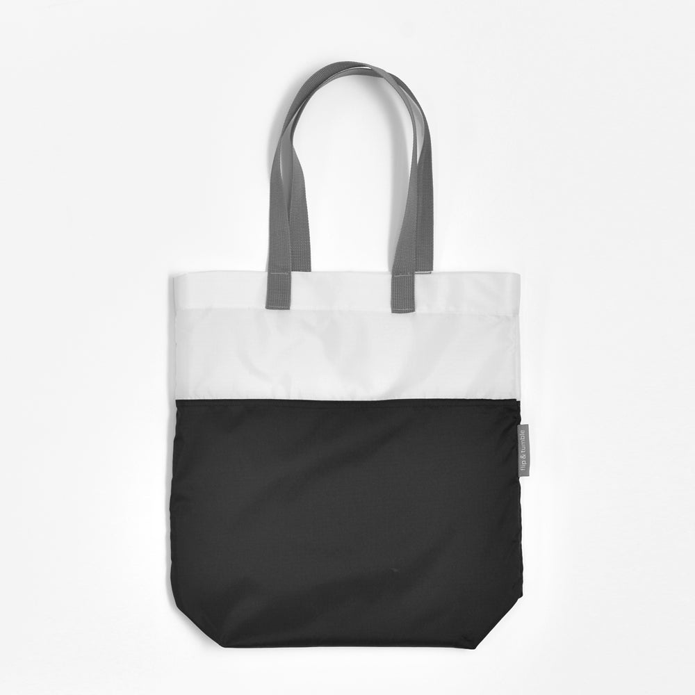 black compacting tote bag