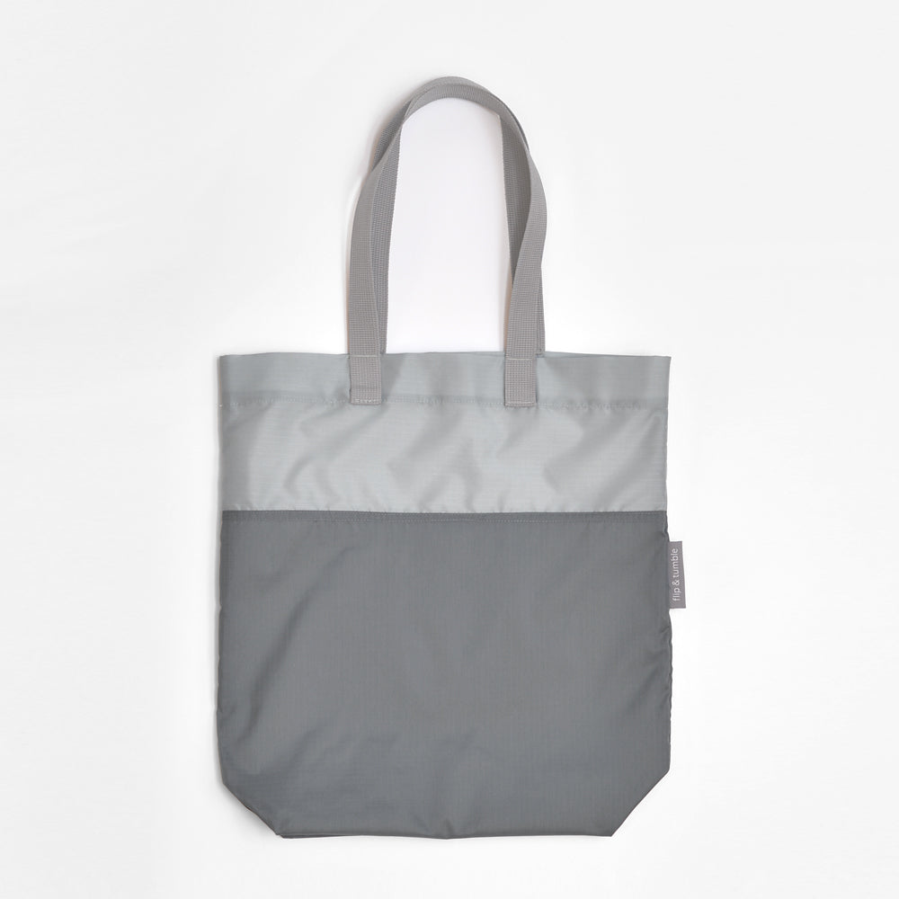 grey compacting tote bag
