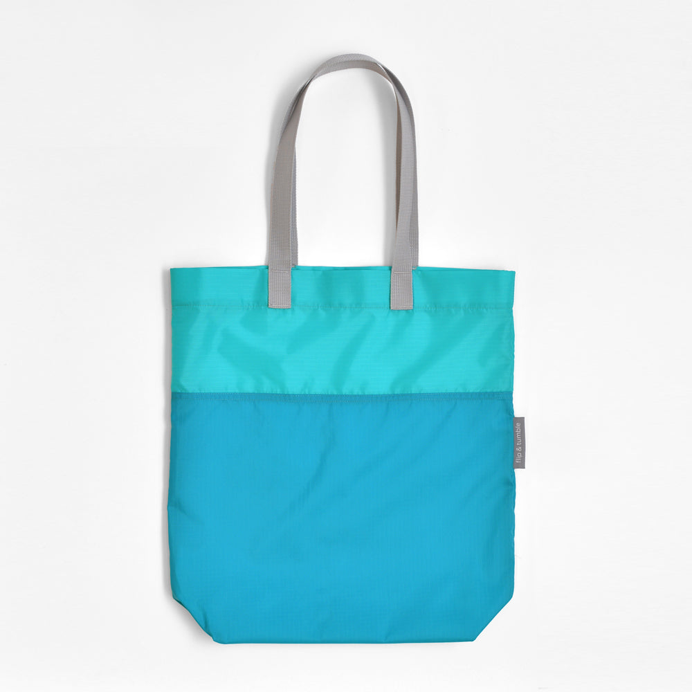 marine blue compacting tote bag