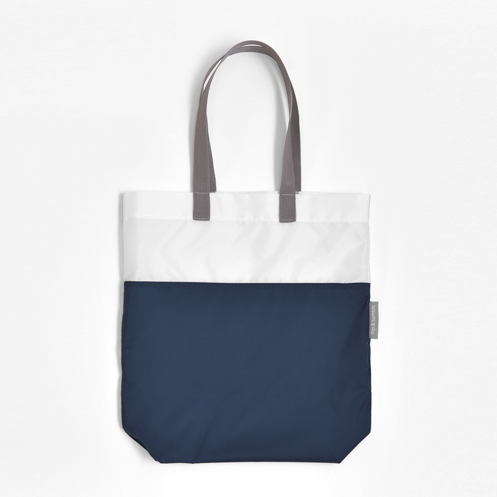 navy compacting tote bag