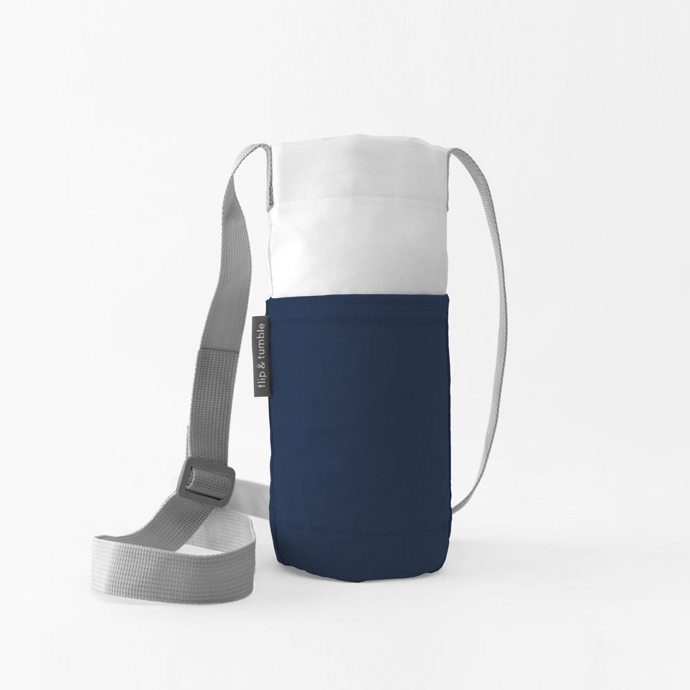 navy water bottle bag sling