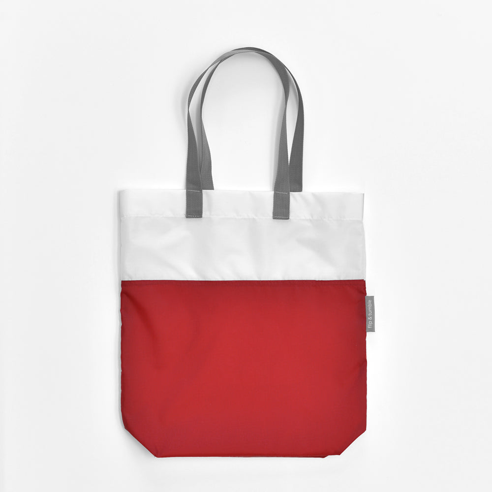 red compacting tote bag