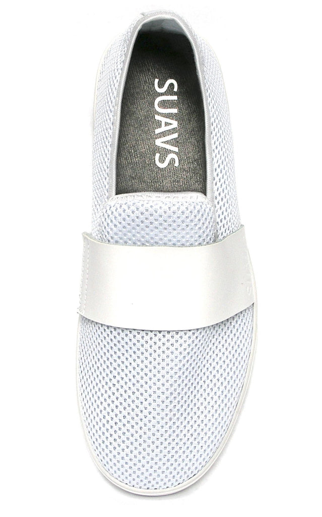 women's slip-on, white with white sole
