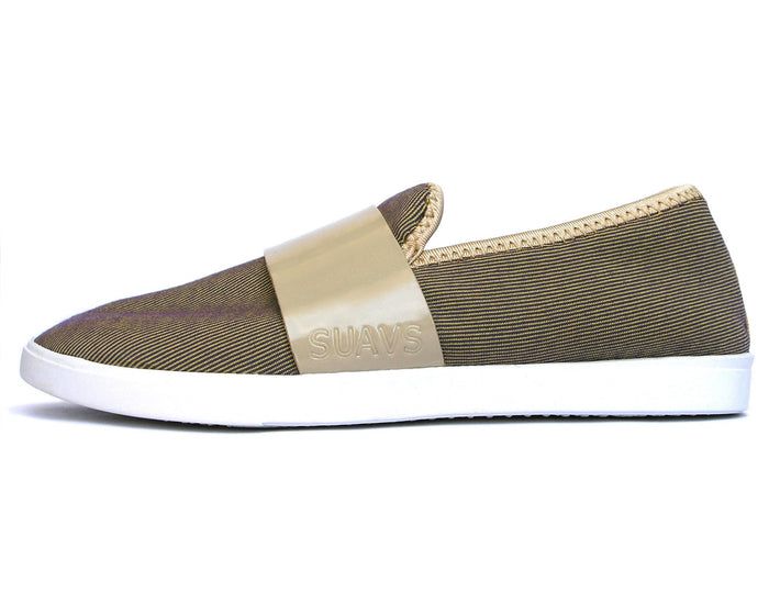 women's winter slip-on, tan with white sole