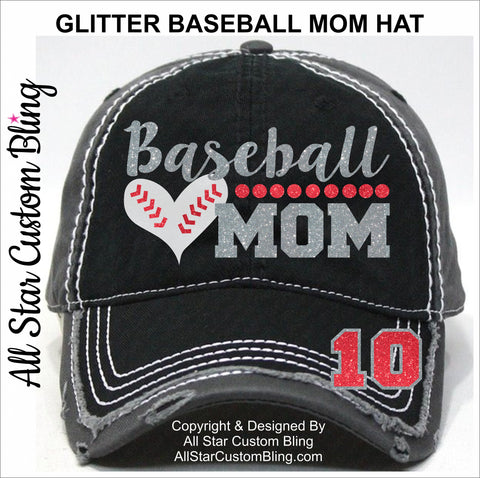 Baseball Mom Hat with Player Number