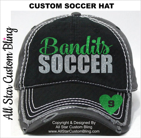 Soccer Team Hat with Player Number - All Star Custom Bling