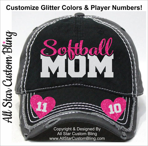 Softball Mom Hat with Two Player Numbers