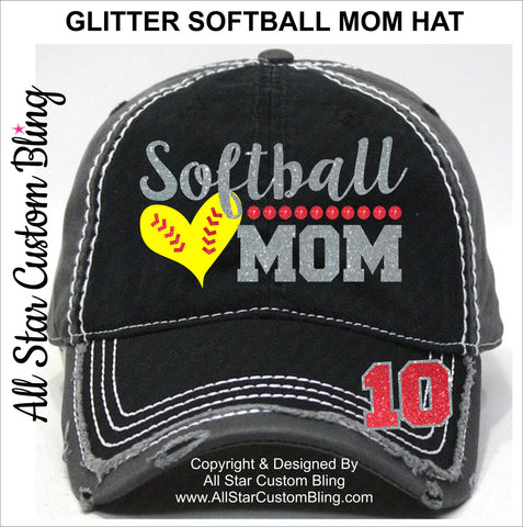 Softball Mom Hat with Player Number