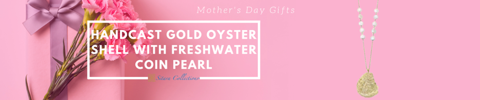 Handcast Gold Oyster Shell with Freshwater Coin Pearl Mother's Day Necklace