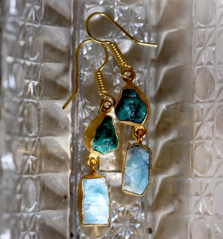 Turquoise and Larimar Rough Gemstone Earrings
