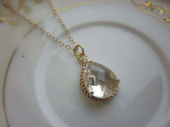 Crystal Clear Teardrop Gold Necklace