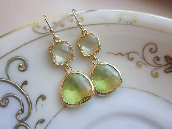 Peridot Earrings Green Citrine Block