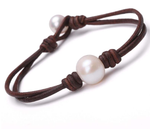 Freshwater Pearl * Leather Necklace, Earrings and Bracelet Set