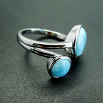 Natural Round Larimar 925 Sterling Silver Ring