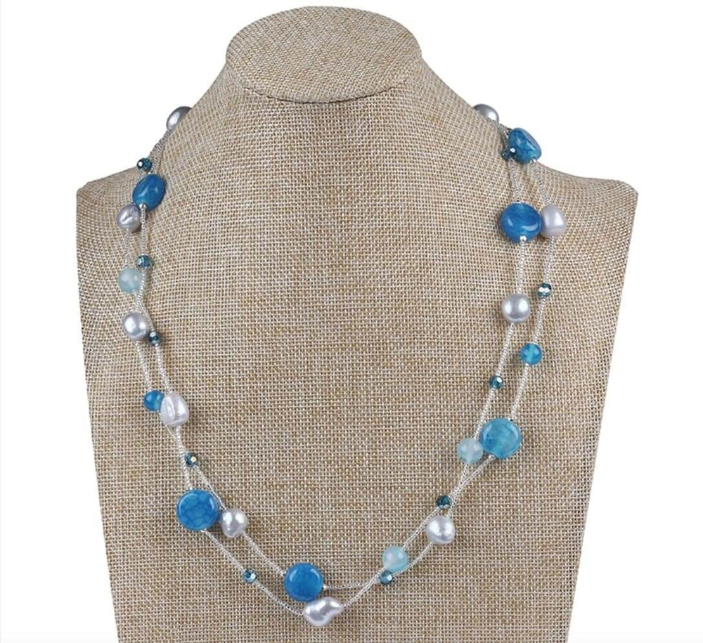 Agate stone baroque freshwater pearl long necklace
