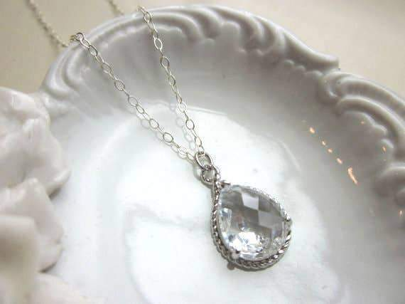 Crystal Clear Teardrop Silver Necklace
