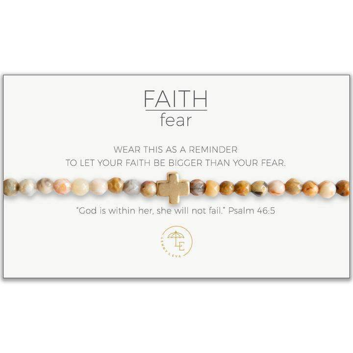 Faith Over Fear Stretch Bracelet, Mexican Agate - Sitara Collections