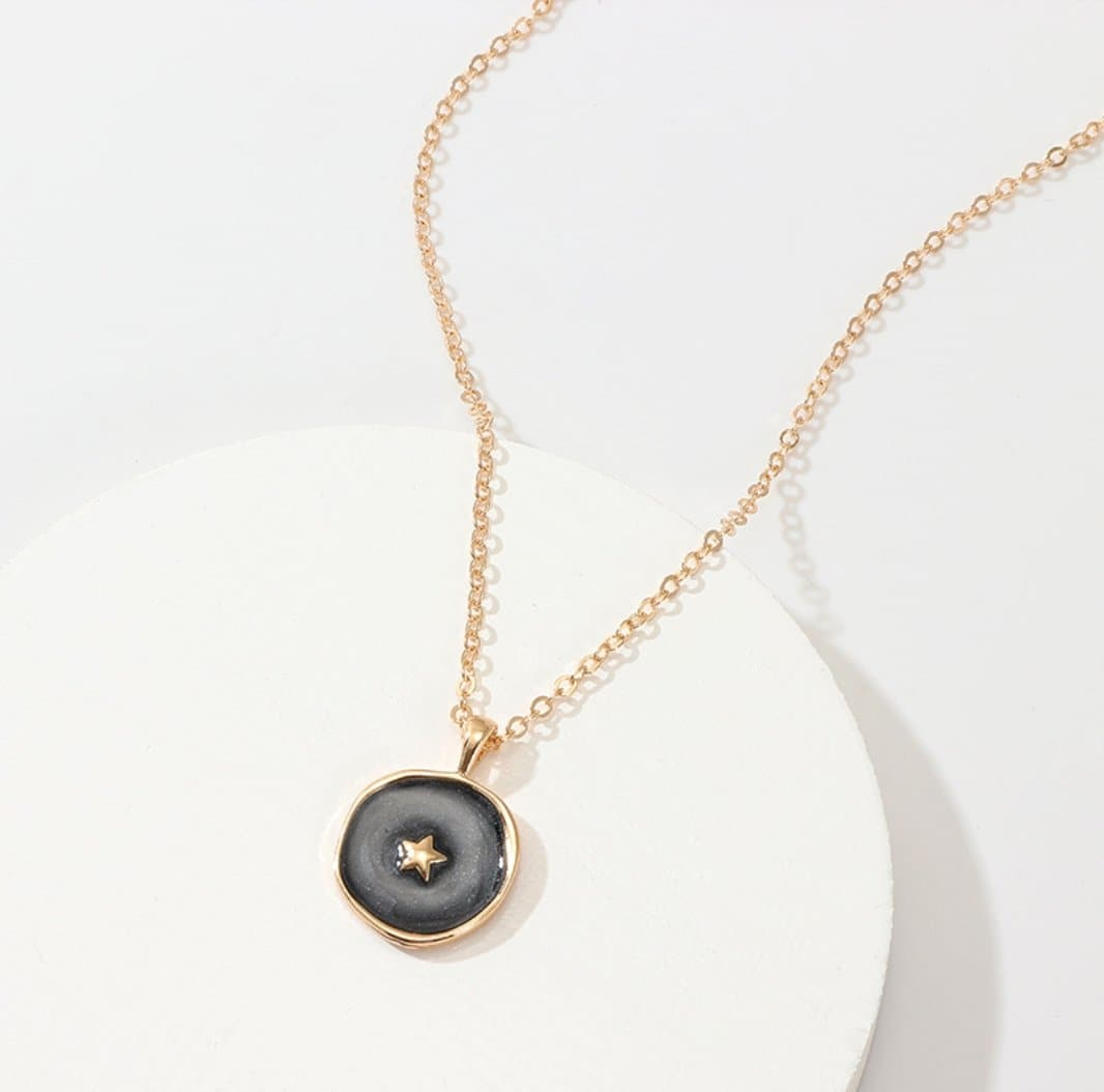 Harajuku Black Enamel with Gold Star Pendant Necklace - Sitara Collections
