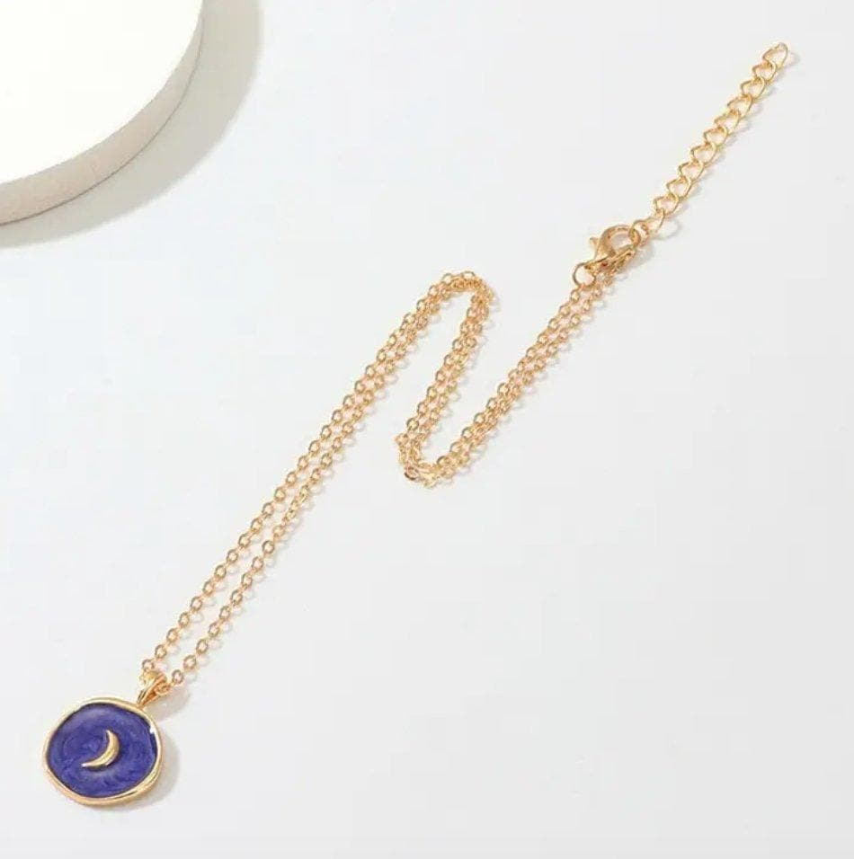 Harajuku Blue Enamel with Gold Moon Pendant Necklace - Sitara Collections