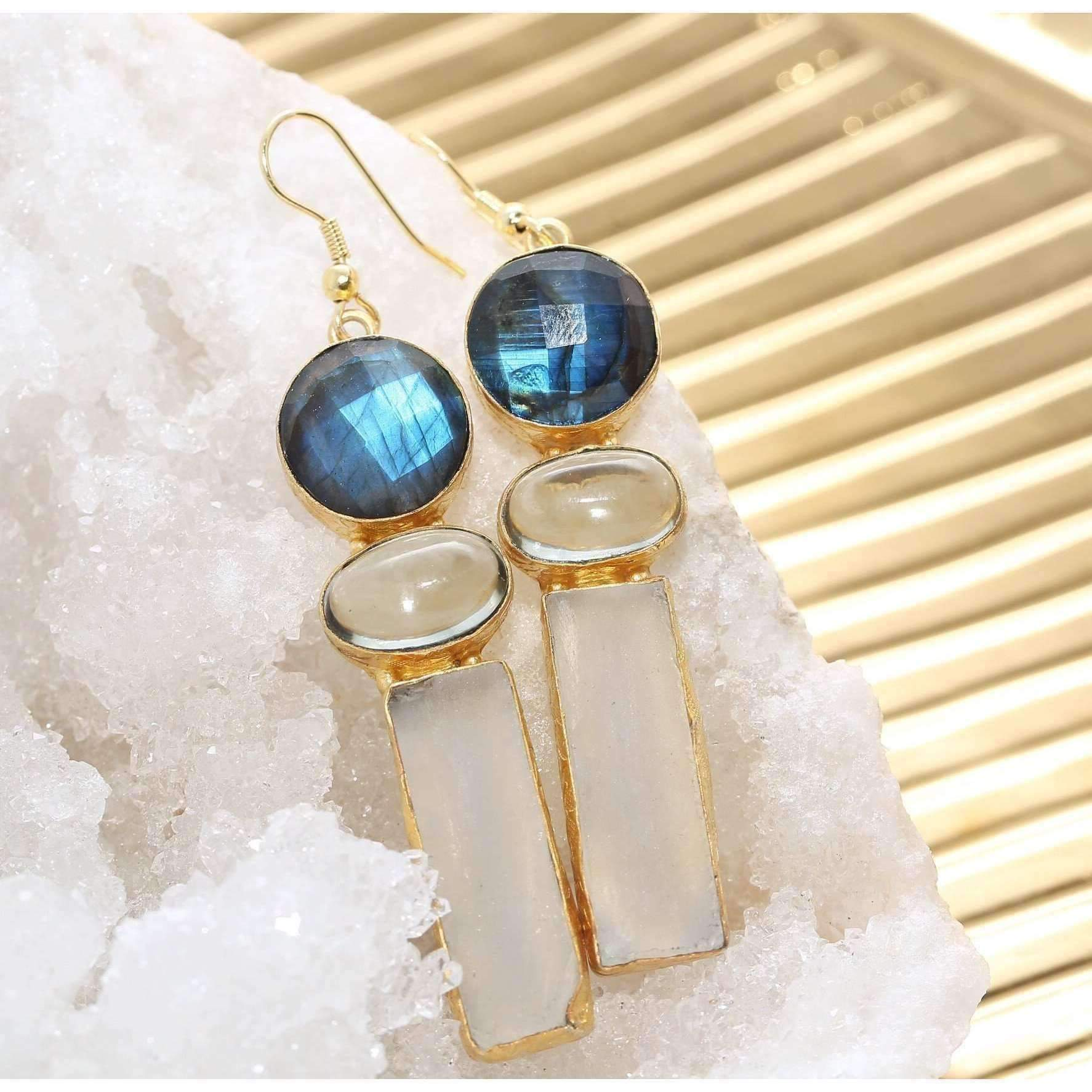 Jaya Labradorite & Fluorite Earrings